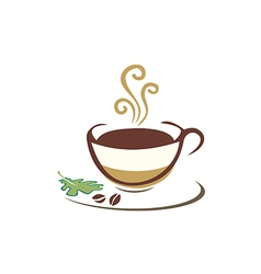 Coffee cup organic eco logo vector