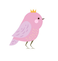 Cute kawaii purple bird in crown seasonal vector