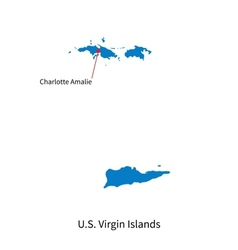 Detailed map of us virgin islands and capital city vector
