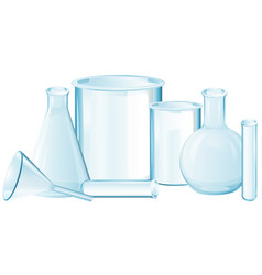 Different types of glass beakers vector