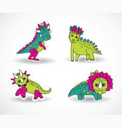 dinosaurs objects shadow vector image vector image