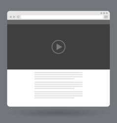 Flat browser window with video player online vector