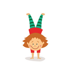 Flat girl doing handstand exercise isolated vector