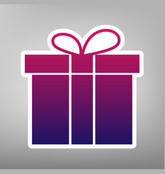 Gift box sign purple gradient icon on vector