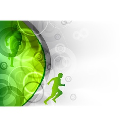 green background with the runner vector image vector image