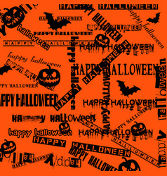 halloween background with bats and pumpkin vector image
