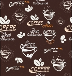 Hand Drawning coffee seamless pattern vector image
