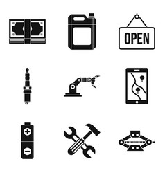 Hoist icons set simple style vector