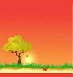 Landscape with autumn leaves vector