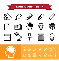 Line icons set 4 vector image