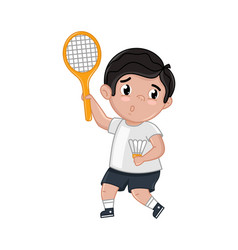 Little boy in tennis uniform holding racket vector