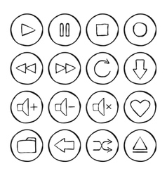 Multimedia hand drawn sketch icons set vector image