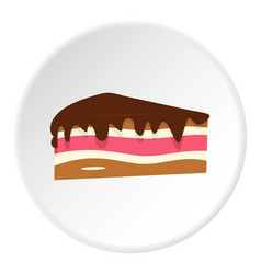 Piece of cake with chocolate cream icon circle vector