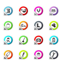 Plumbing related icons set vector
