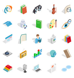 reading icons set isometric style vector image vector image