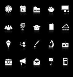 School icons with reflect on black background vector image vector image