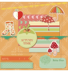 Scrapbook Design Elements - Autumn Time vector image vector image