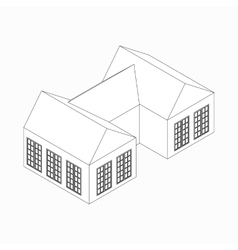 Semi-detached house icon isometric 3d style vector image vector image
