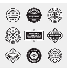 set of vintage wedding badges sings logos vector image vector image