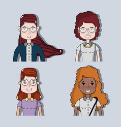 Set women face with hairstyle and expression vector