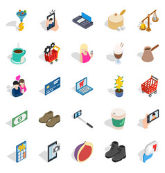 Shopping trip icons set isometric style vector