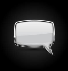 Speech bubble white icon with metal frame on vector