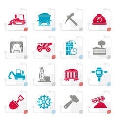 Stylized mining and quarrying industry icons vector