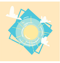 Sun icon summer sea vacation concept summertime vector