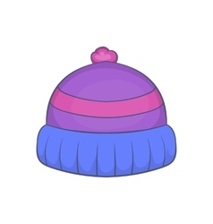 Winter knitted hat with pompon icon cartoon style vector