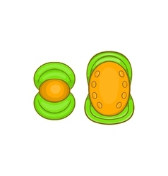 Knee protector and elbow pad icon cartoon style vector