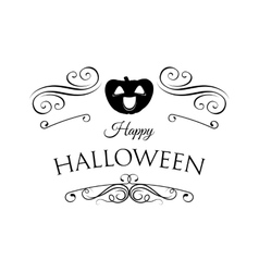 Smile pumpkin happy halloween filigree scroll vector