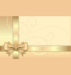 Gift card with golden ribbon and bow vector