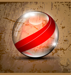 Transparent sphere with red lines vector