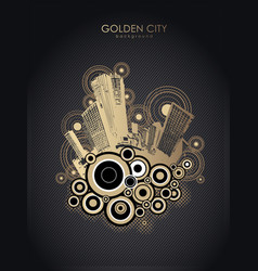 golden cityscape with skyscrapers and circles vector image