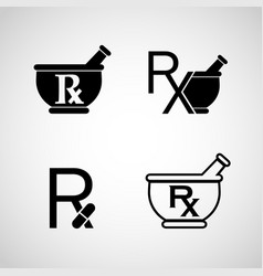 Pharmacy logo icon set vector