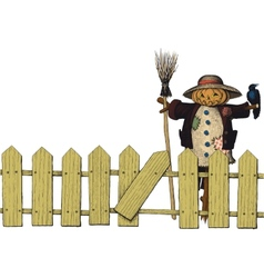 Fence and a scarecrow vector