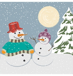Vintage christmas poster with snowmen vector