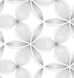 3D white circle grid and striped flowers vector image vector image