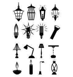 Light bulb lamps icons set vector