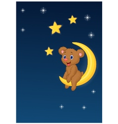 Baby bear sitting on the moon vector