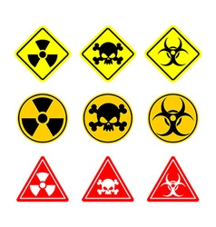 Set sign biohazard toxicity dangerous yellow signs vector