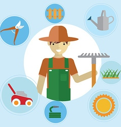 Man gardeners standing with their garden tools vector