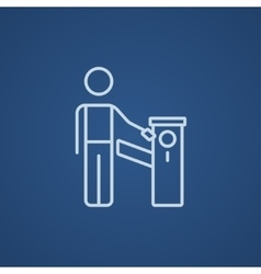 Man at car barrier line icon vector