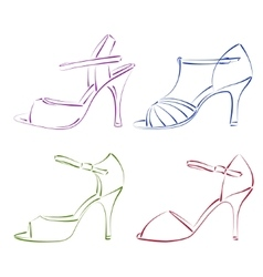 Set of sketched woman shoes vector