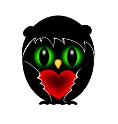 Black owl in love vector