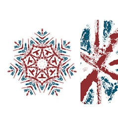 Snowflake styled with union jack flag colors vector
