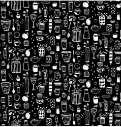 Dishware doodles white on black sketchy seamless vector