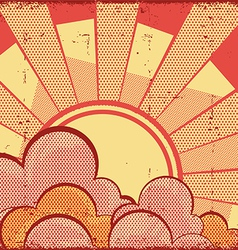 Cartoons sky background with sunRetro image vector image