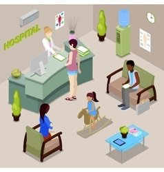 Hospital hall interior with nurse and patients vector