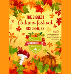 Autumn sale banner design of fall harvest holiday vector